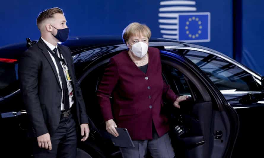 The German chancellor, Angela Merkel, arrives on Friday for the second day of a two-day EU summit in Brussels.