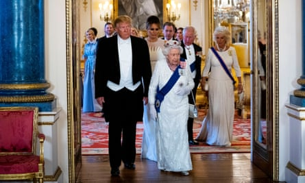 Donald Trump with the Queen at the banquet.