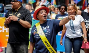 Chicago mayor Lori Lightfoot walks during the 50th annual Pride Parade in Chicago on 30 June.