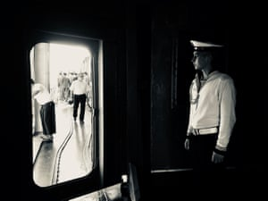 This image was taken on board a Russian naval destroyer when it docked temporarily in Yangon, Myanmar.