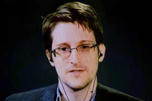 American whistleblower Edward Snowden appearing via video link from Moscow.
