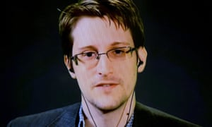 Edward Snowden seen via video link from Moscow