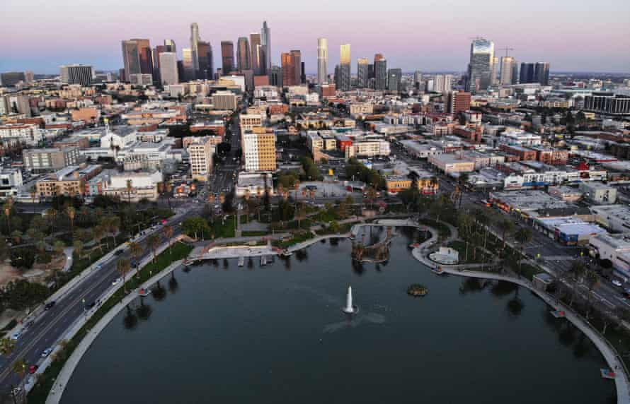 An aerial view of MacArthur Park and downtown Los Angeles in 2020.