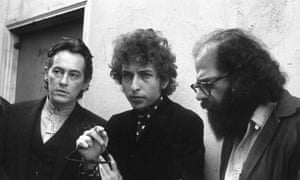 From left, Michael McClure, Bob Dylan and Allen Ginsberg in San Francisco, 1965.