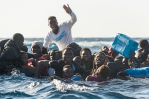 Migrants rescued from the Mediterranean in January 2018. The quality of boats used to ship refugees to Europe has deteriorated because the people smugglers no longer travel with their human cargo and they know the boats will be destroyed on arrival anyway.