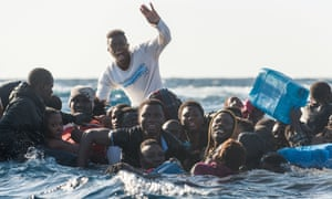Migrants attempting to cross the Mediterranean and reach Italy, January 2018.