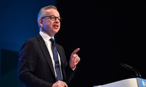 Michael Gove speaking at the Conservative conference.