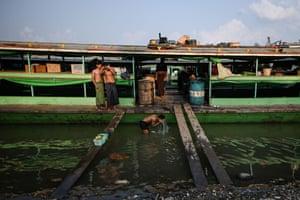 Bath-time in the Chindwin river in Hkamti township.