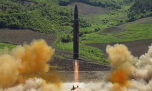 Official photograph showing what the North Korean government said was the launch of a Hwasong-14 intercontinental ballistic missile