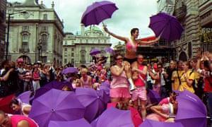 Mardi Gras pride march in London.