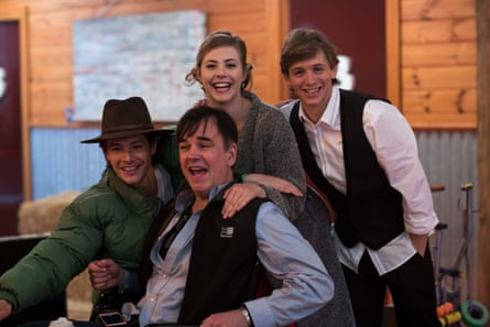 Xavier Samuel, Tim Ferguson, Morgan Griffin and Travis Jeffery on the set of Spin Out