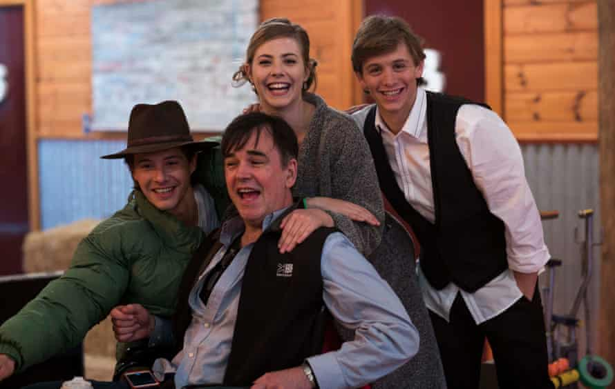 Xavier Samuel, Morgan Griffin and Travis Jeffery with Tim Ferguson on the set of Spin Out