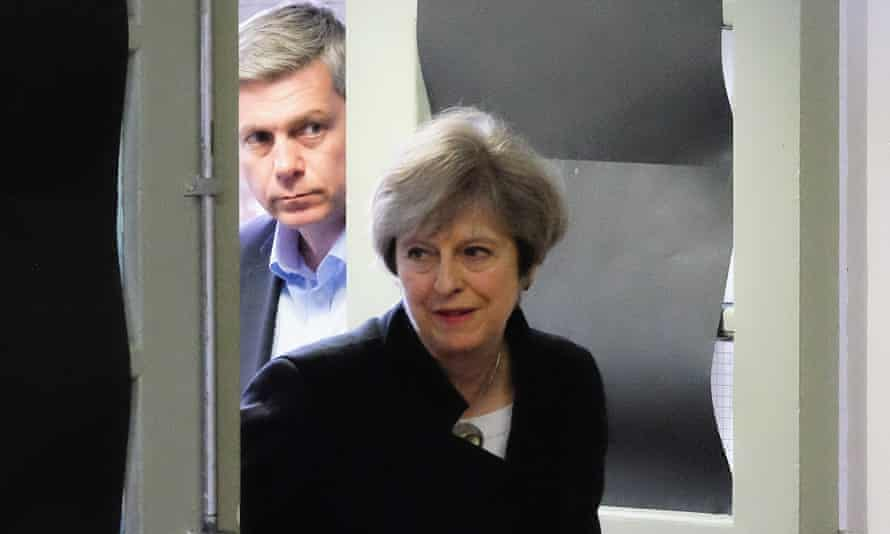 Theresa May arrives for a meeting with Tory activists in North Shields.