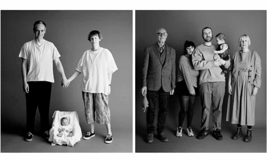 Frank and Sue, 36, with baby Eddie in 1991, left, and this year, now 66, with Eddie, 30, his partner and their baby.