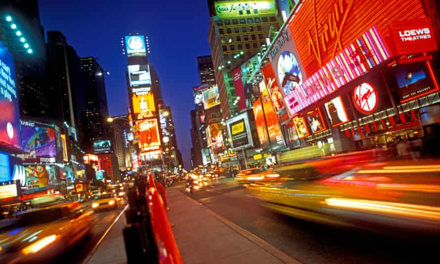 New York's Times Square at night with lights
