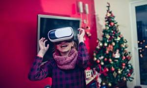 Little Girl Having Fun with Virtual Reality Simulator at Christmas Night