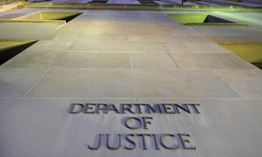 The Department of Justice headquarters building in Washington is photographed early in the morning. CNN says the Trump administration justice department secretly obtained the 2017 phone records of its correspondent Barbara Starr.