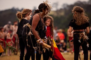 A Yuin girl from the Walbunga clan, Arianna Landini, became overwhelmed while dancing for Minga Gulaga. 'I know the sacred importance and pride of ceremony and can feel the power of love and connection to my Aboriginal culture and country,' she says. Aunty Savirri, who offered support, said she also became overwhelmed with power of the moment. Both women are Djaadjwan dancers.