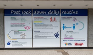 Large new signs on empty shop windows in Slough High Street, Berkshire reminding people about having a post Coronavirus Covid-19 lockdown daily routine.