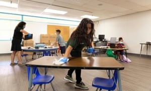 Classrooms are sanitized in Phoenix, Arizona, on 17 August 2020.