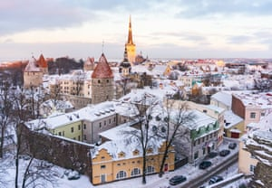 Old town of Tallinn from observation deckPanoramic view of the castle and the old town of Tallinn from the observation platform in winter