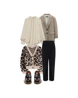 Go wild Jo Jones, fashion editor 'Add a blazer to keep it smart.' Trousers, £230, frenchconnection.com. Blazer, £49.99, zara.com. Cardigan, £85, stories.com. Blouse, £12.99, hm.com. Loafers, £250, Comme Des Garcons x Dr Martens at matchesfashion.com