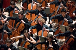 NYO cello section at the Barbican, January 2020
