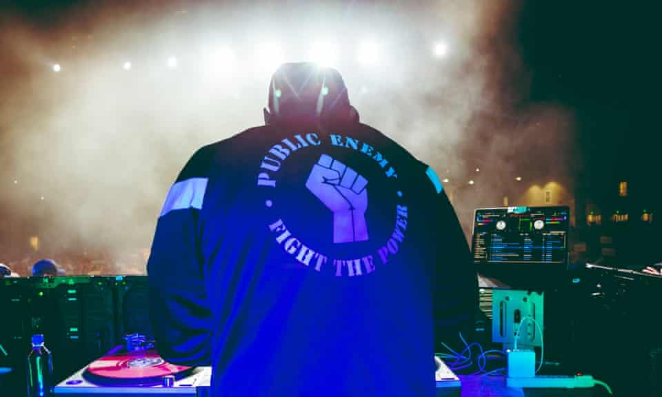 Public Enemy Radio perform on stage at a Bernie Sanders rally in LA in March 2020.