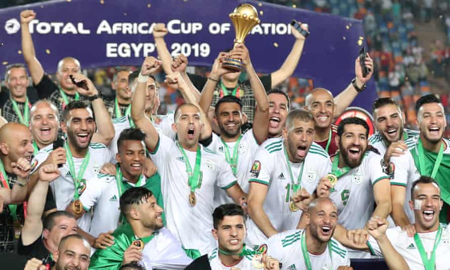 Riyad Mahrez lifts the trophy after Algeria win the Africa Cup of Nations in 2019.