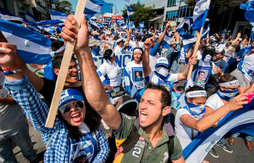 Nicaraguan citizens living in Costa Rica shout slogans during a protest against the Nicaraguan government inJanuary 2019.