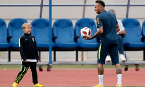 Neymar (right) plays with his son Davi Lucca (left) during a training session in Sochi.