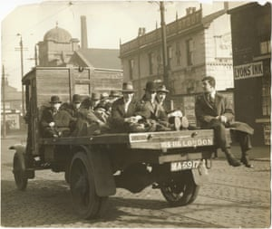 Going to work in Stockport, 6 May 1926. Transport unions were included in the general strike.