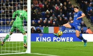Harry Maguire of Leicester City scores the equaliser to make the final score 2-2.