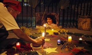 Candles in memory of murdered activist Berta Cáceres
