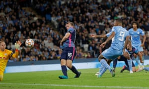 Manchester City's Gabriel Jesus scores their sixth goal.