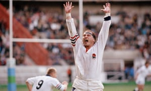 Brian Moore celebrates victory against France at the end of their quarter-final at Parc des Princes in Paris on 19th October, 1991.