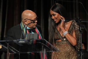US Quincy Jones is presented with an American Icon award by Naomi Campbell at the Beverly Wilshire Hotel, Los Angeles