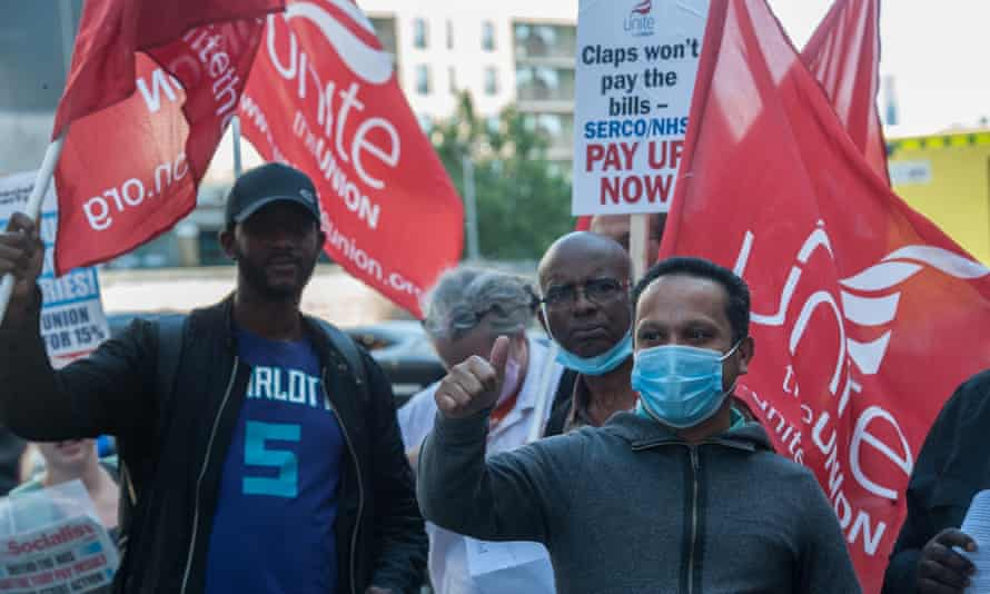 Unite members protest over NHS wages at the Royal London Hospital, August 2021