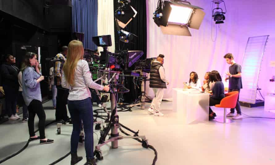 Inside the TV studio.