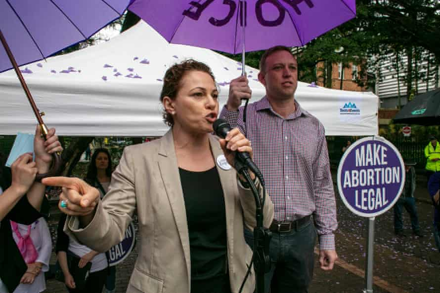 Jackie Trad and Queensland health minister Steven Miles (right) at a pro-choice rally in Brisbane ahead of proposed changes to Queensland's abortion laws in October 2018.
