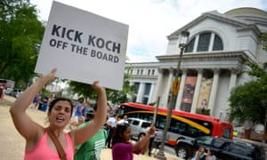 Protesters have also asked for David Koch to be removed from the board of the Smithsonian National Museum of Natural History in Washington DC.