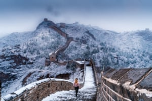 The Great Wall of China in a snowstorm