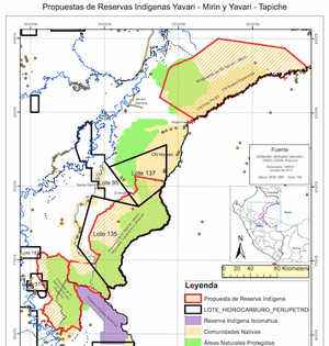 """Map showing how the proposed Yavari-Mirin and Yavari-Tapiche reserves (boundaries marked in red) are overlapped by oil concessions Lot 135 and Lot 137 (boundaries marked in black) and """"protected natural areas"""" (shaded light green) , among other things."""