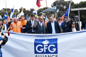 Sanjeev Gupta with South Australian Liberal leader Steven Marshall during a symbolic march with supporters down the main street of Whyalla in September 2017