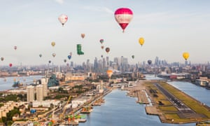 Balloons fly over City airport in London