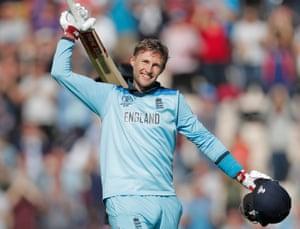 England's Joe Root celebrates his century.