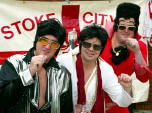 Mike Furnival (left) and friends Tim Fear and Conrad Clews, who joined over one hundred Elvis lookalikes at a Stoke City game.
