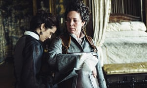 Rachel Weisz as the Duchess of Marlborough and Olivia Colman as Queen Anne in The Favourite.