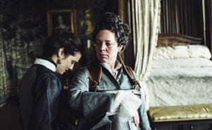 Olivia Colman, right, with Rachel Weisz in The Favourite