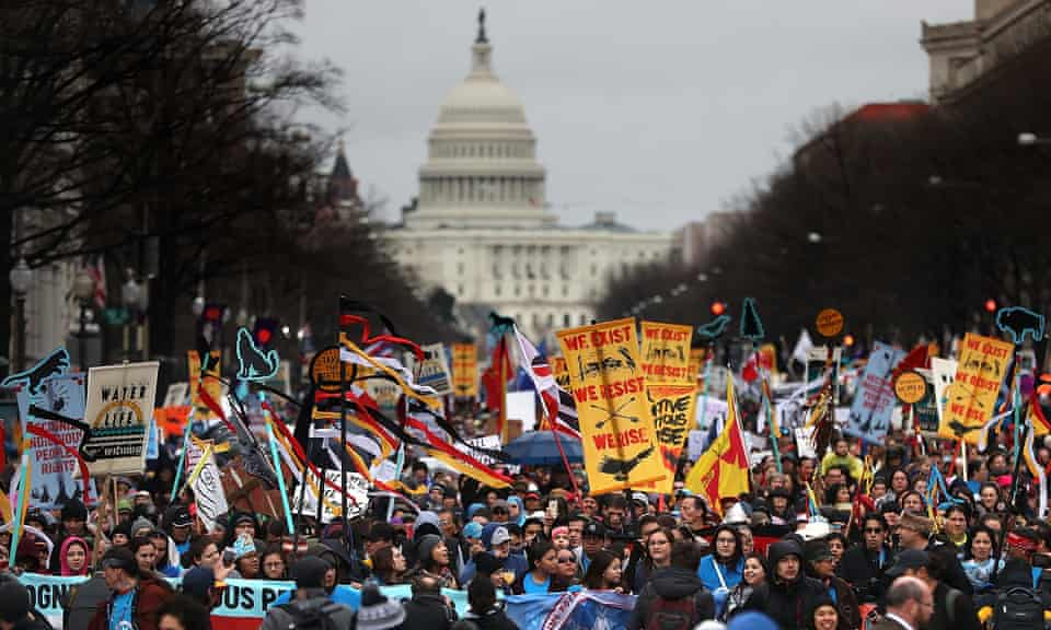 Protesters from the Native Nations march during a demonstration against the Dakota Access Pipeline on March 10, 2017 in Washington, DC.
